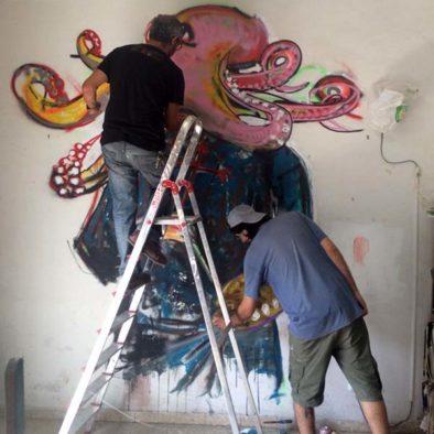 participantes del taller de arte urbano en Madrid