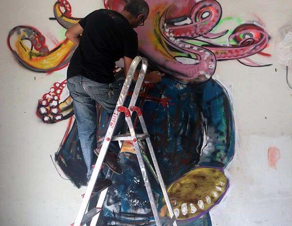 Proceso del muro de arte urbano en Madrid