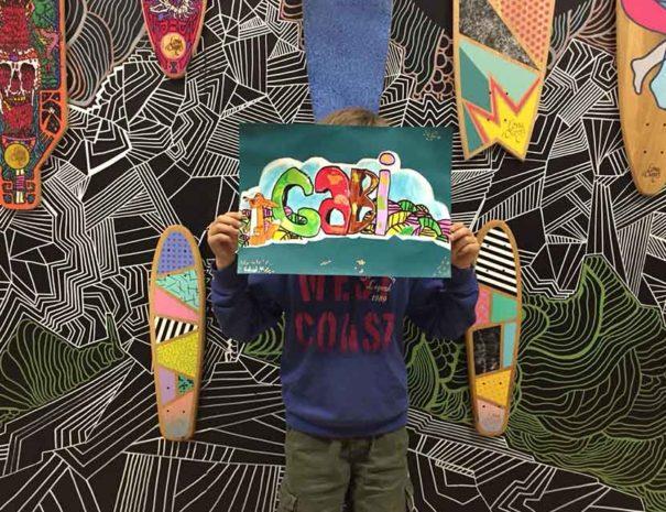 Boceto de un graffiti creado durante el taller de graffiti para jóvenes en Madrid
