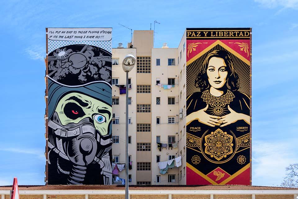 arte urbano de Dface y Obey en Málaga