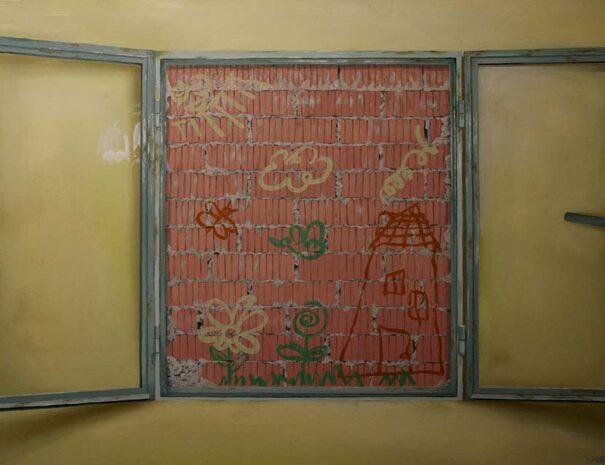 cuadro de unos bocetos en una ventana