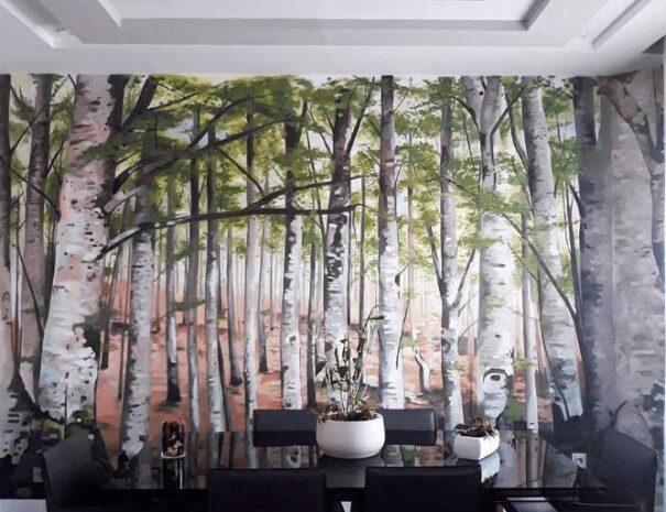 mural de un bosque verde
