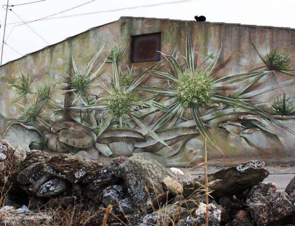 pintura mural de flores y setas