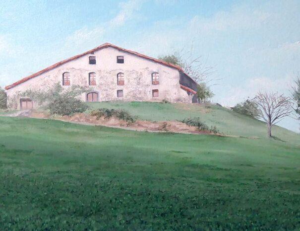cuadro de paisaje y caserío al óleo sobre lienzo