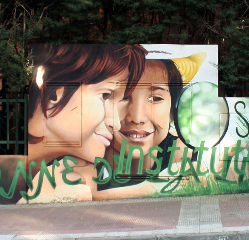pintura mural con spray y pintura