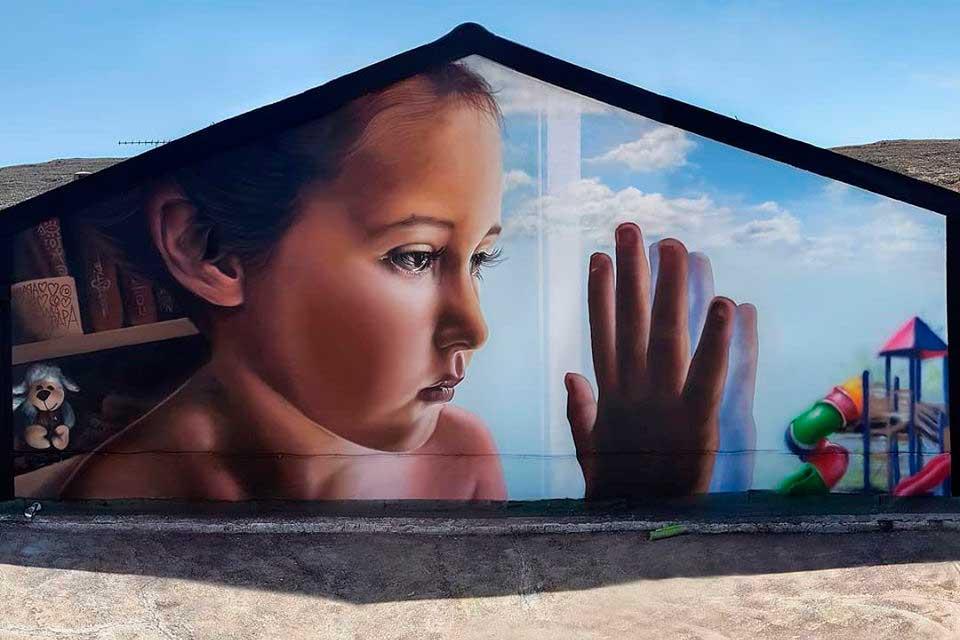 muralismo hiperrealista de Moxaico