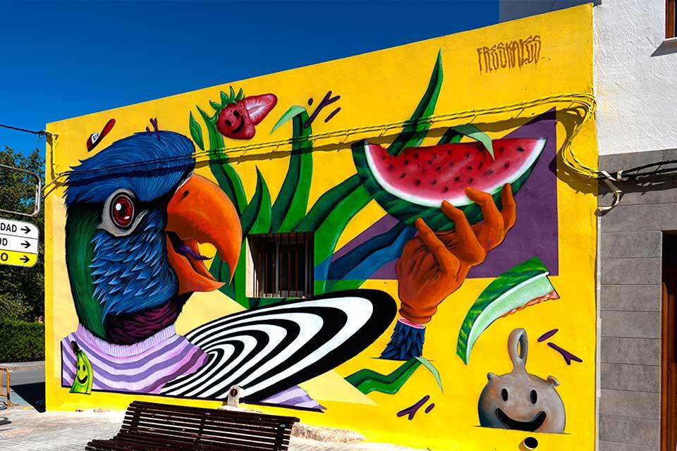 mural de freskales en un festival de arte urbano en España