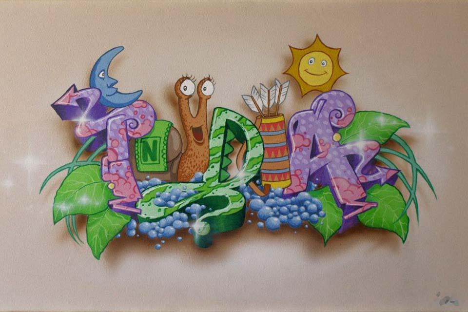 decoración graffiti en murales infantiles pintada por Cooltourspain