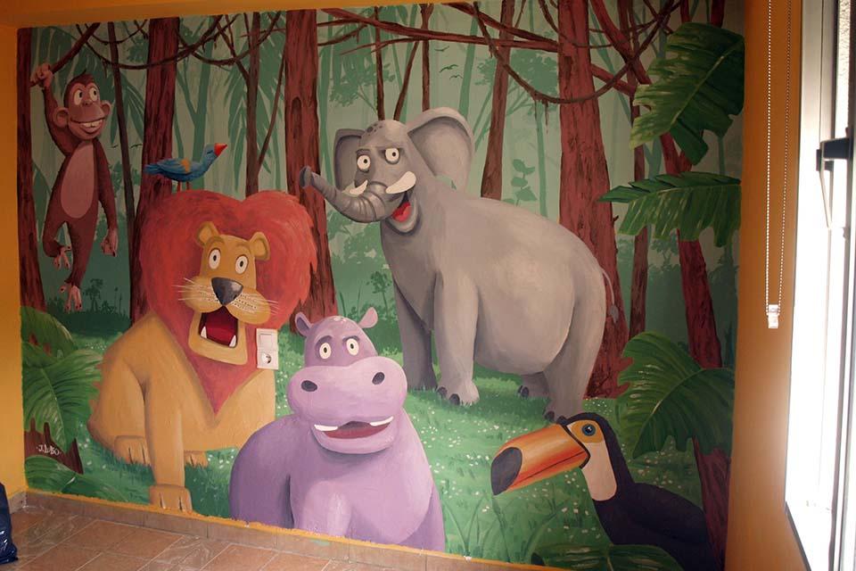 decoración con graffiti en murales infantiles de la Comunidad de Madrid