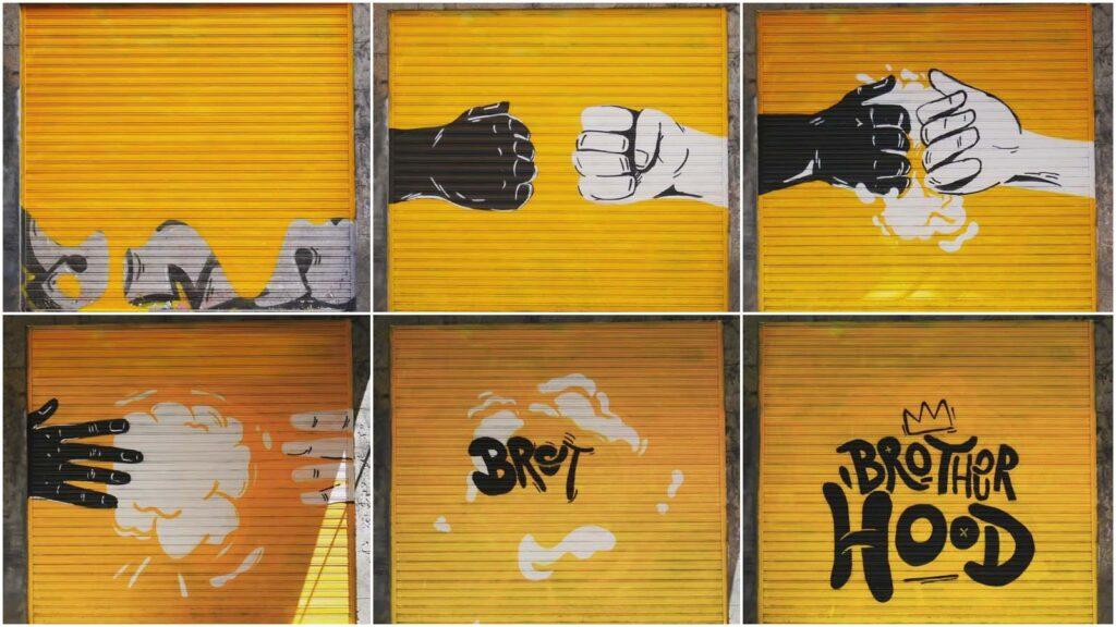 intervención artística durante un festival de arte urbano en Madrid
