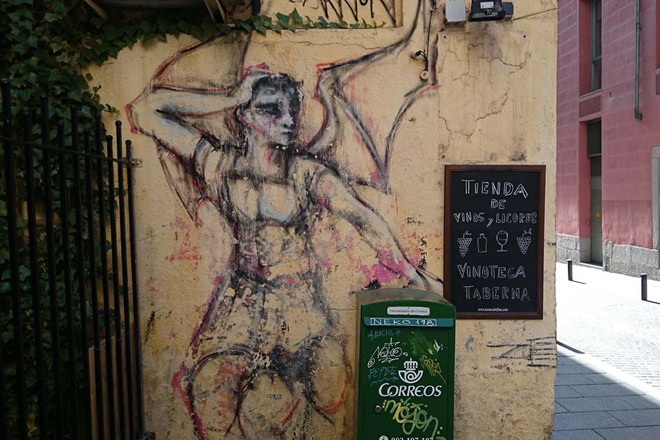 arte urbano sobre un muro del centro de Madrid