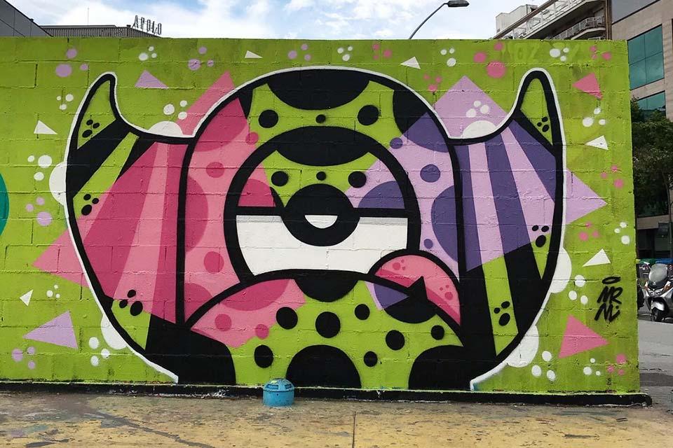 Artista de arte callejero en Barcelona, España