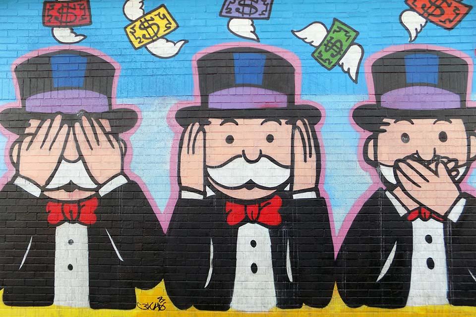 decoración de arte urbano sobre el dinero