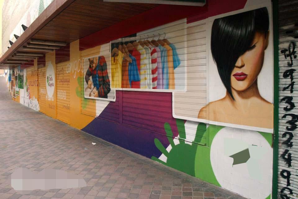 vista lateral de los murales en paredes exteriores